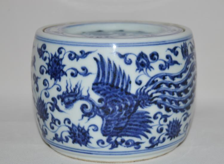 Chinese Blue and White Porcelain Cricket Jar