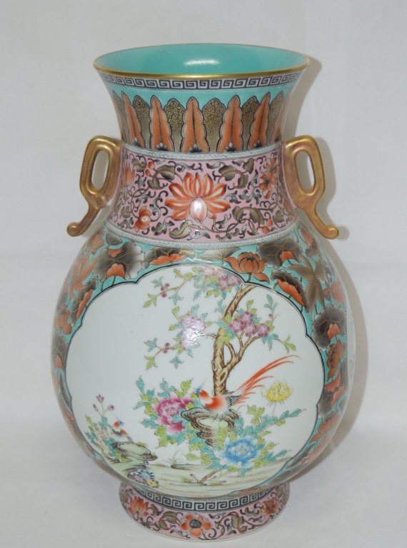 Chinese Enamel Double Ear Porcelain Vase