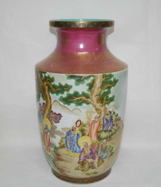 Blush Red Glazed Famille Rose Porcelain Vase