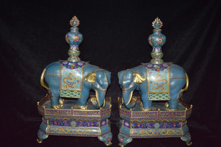 A Pair of Chinese Cloisonne Enamel Elephant Statue