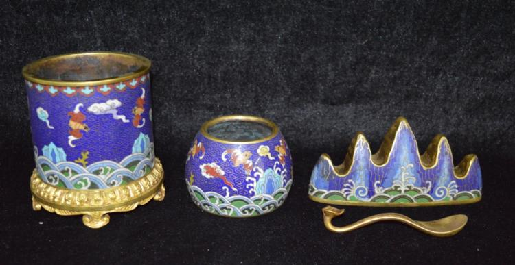 Four Pieces of Chinese Cloisonne Enamel Tool