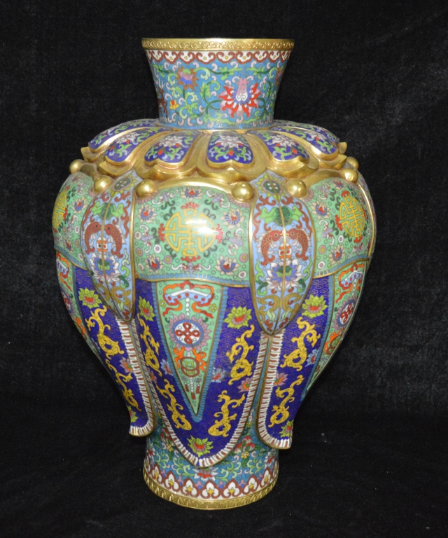 Cloisonne Enamel Melon Shaped Meiping Vase