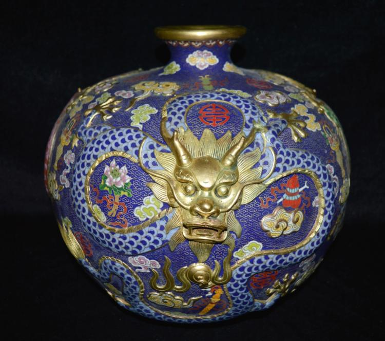 Cloisonne Enamel Three Dragon Vase