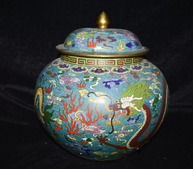 Cloisonne Enamel Jar with Lid