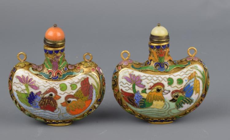 A Pair of Cloisonne Enamel Snuff Bottle