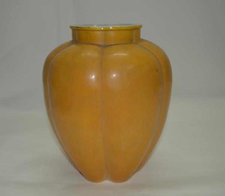 Chinese Yellow Glazed Melon shaped Vase