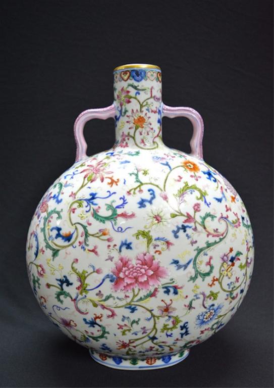 Chinese Famille Rose Porcelain Gourd Vase