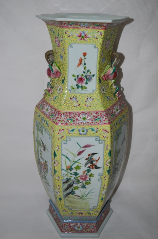 Chinese Famille Rose Hexagonal Vase
