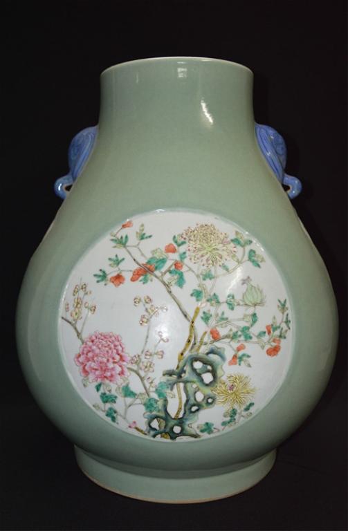 Chinese Famille Rose Mystery Beast Ear Vase