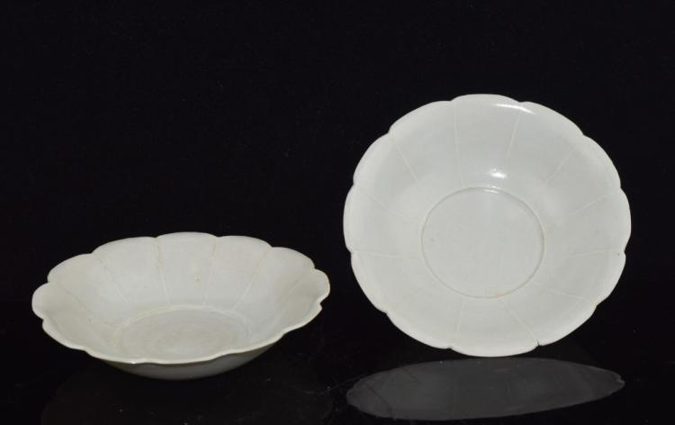 A Pair of Chinese Shadowy Blue 'Lotus' Dish