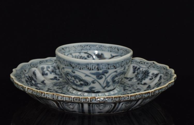 Chinese Blue and White Tea Cup and Plate