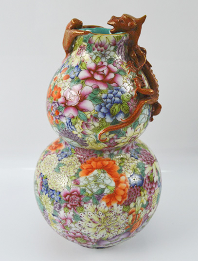 Chinese 'hundred flowers' Gourd Vase