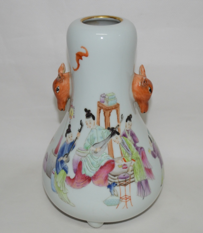 Famille Rose Porcelain Deer Head Vase