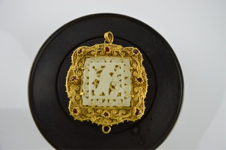 Gilt inlay Jade Pendant