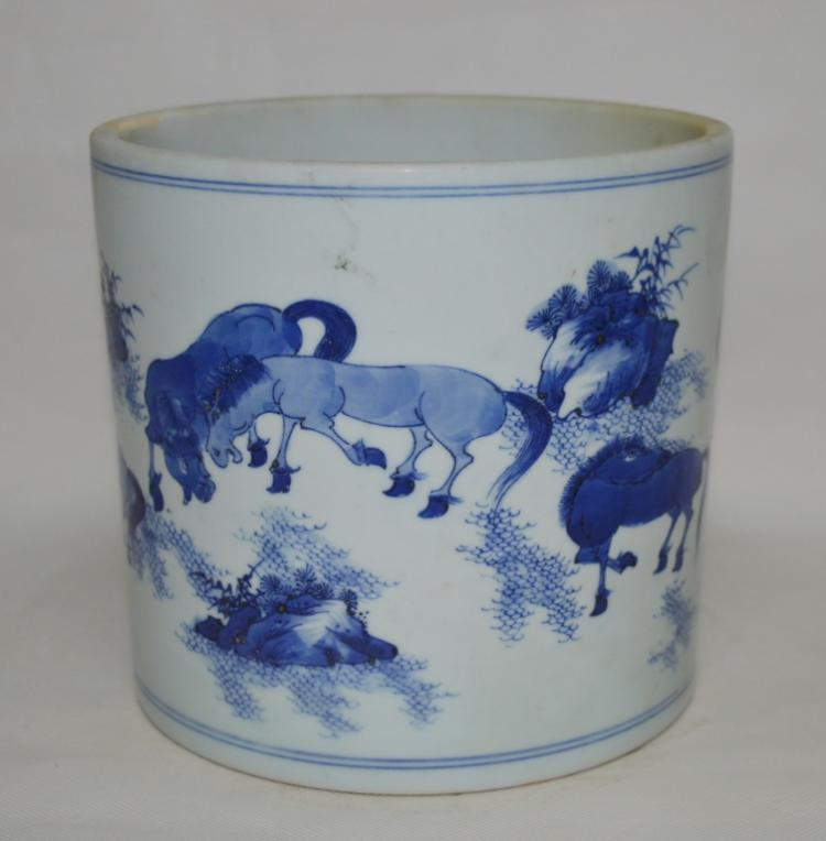 Chinese Blue and White Eight Horse Brush Pot