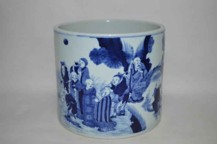Chinese Blue and White Eighteen Arhats Brush Pot