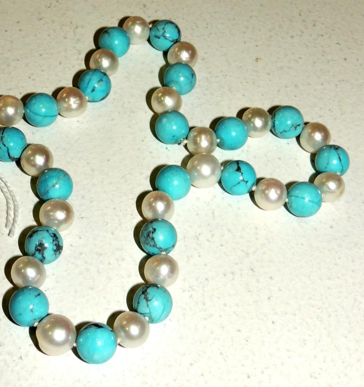 TANGLES AND TURQUOISE NECKLACE with silver clasp.