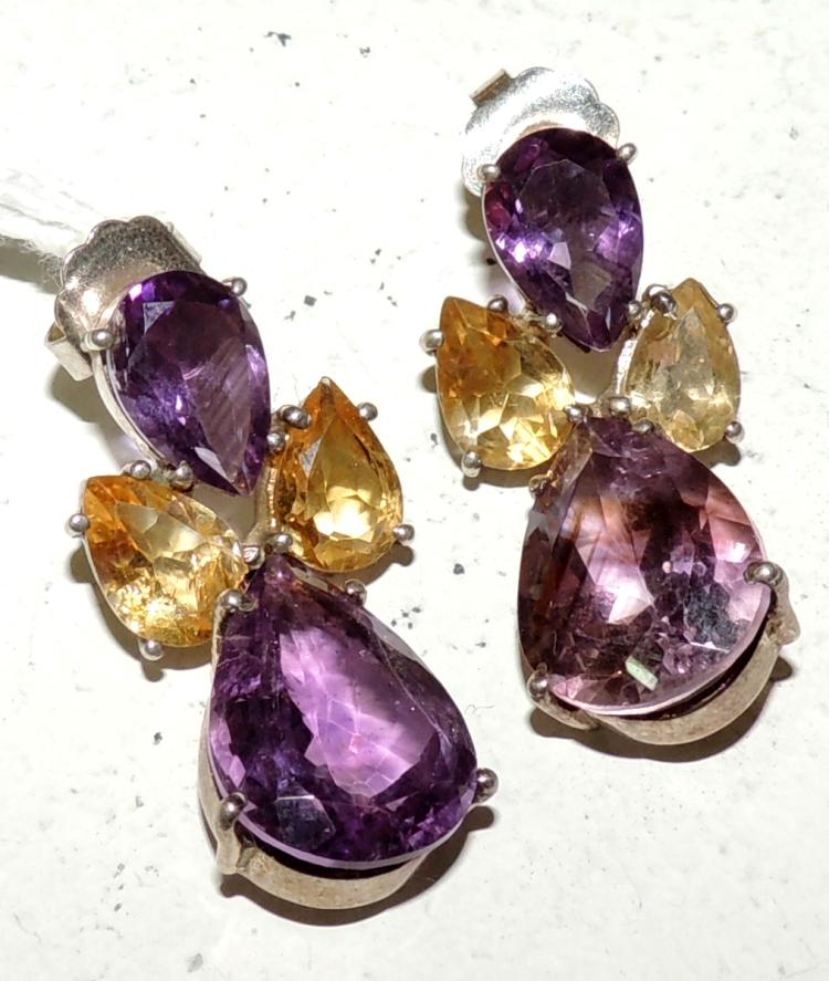EARRINGS in silver with amethysts and citrines size knob. Snap closure. Length: 3.8 cm.