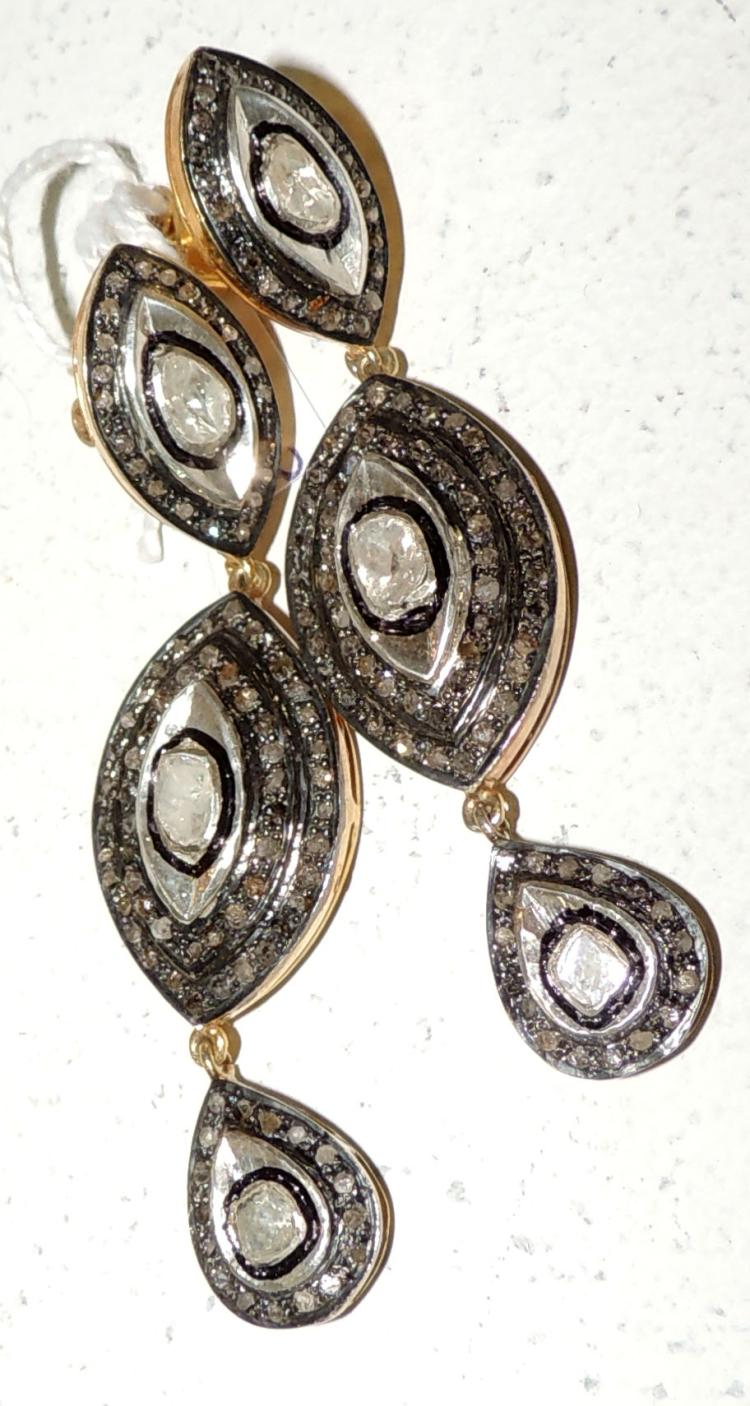 MOBILE EARRINGS in gold-plated silver with diamonds.