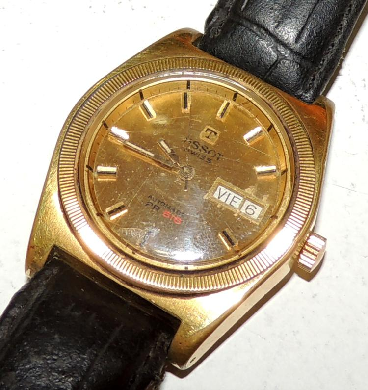 TISSOT.WATCH OF CABALLERO with yellow gold and leather bath.Automatic PR 516. Worn leather.