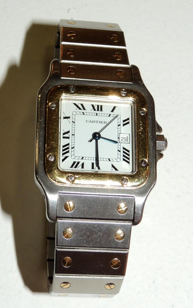 CARTIERMODEL SANTOS WATCH for men in steel and yellow gold.Automatic mechanism.
