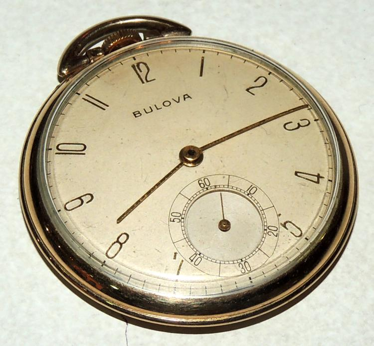 BULOVAPOCKET WATCH in yellow gold.Arabic numerals and seconds at six.Diameter: 4.3 cm.approx.