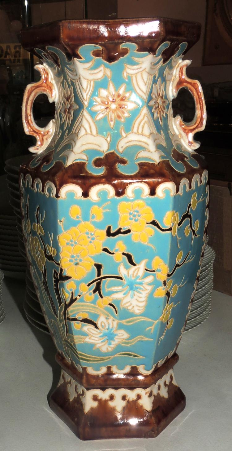 VASE in enameled ceramic with oriental style decoration.Marks in the base.Height: 38 cm