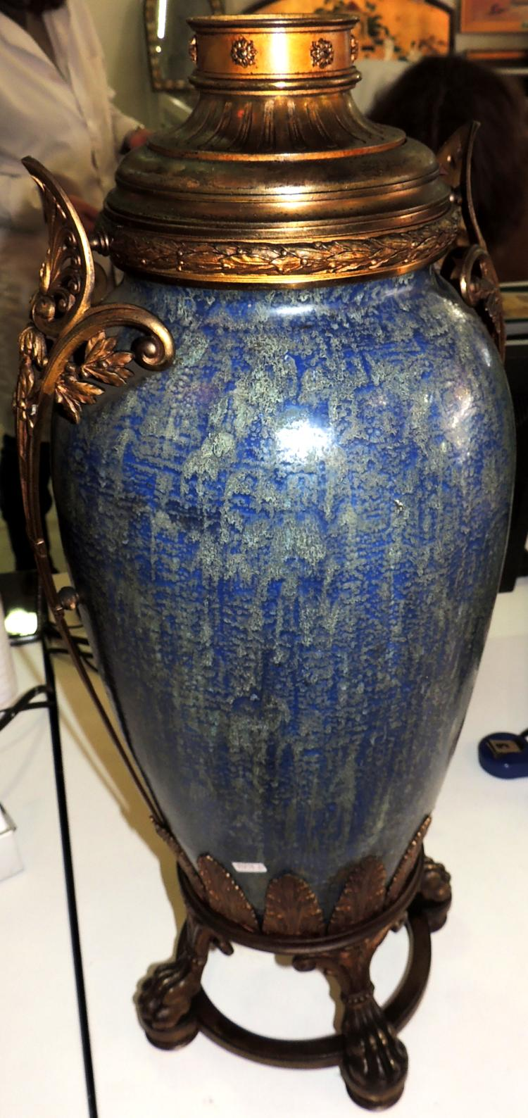 BIG VASE adapted for lamp in Sèvres porcelain with handles and bronze applications.It supports on four legs in claw.Height: 65 cm