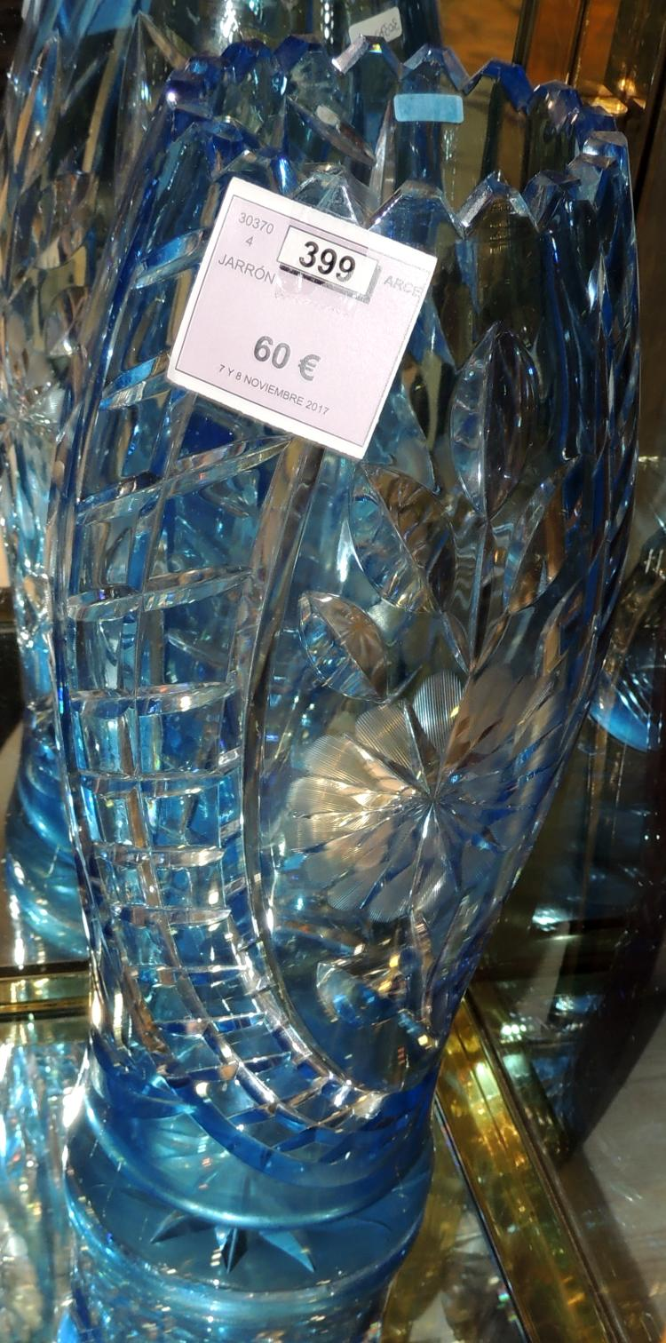 VASE in blue carved Bohemian crystal.With cut-out mouth.Height: 36 cm
