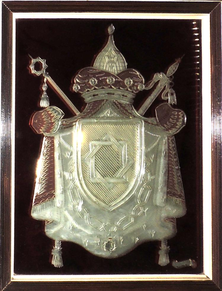 PONS CIRAC.EMBLEM in cut glass with wooden frame.Total measures: 39x33 cm.