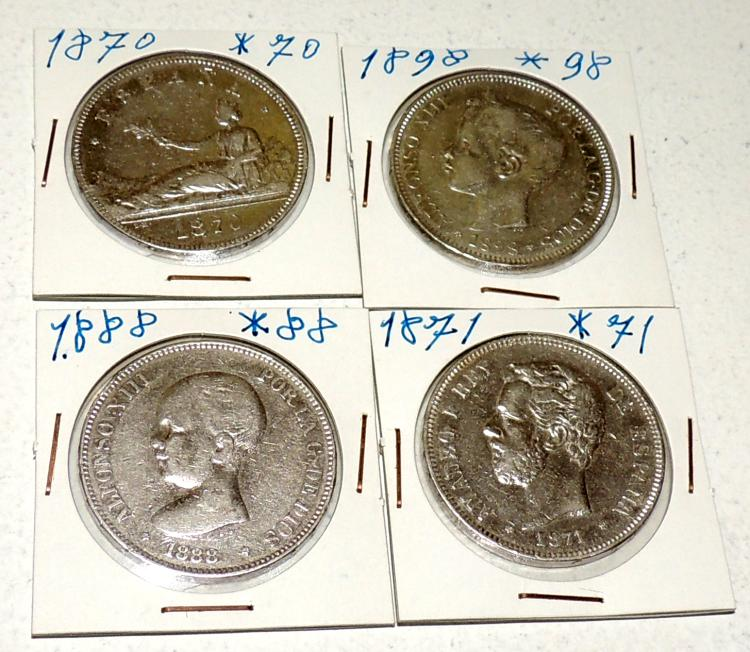COLLECTION OF 4 COINS in silver from the years 1870, 1871, 1888 and 1898.
