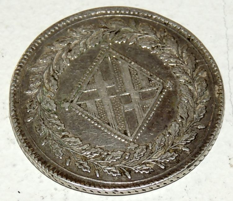 CURRENCY OF 5 PESETAS in silver, Napoleon era 1810 with the coat of arms of the city of Barcelona.