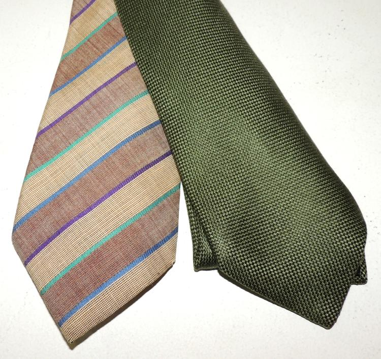 HERMÈS AND CACHAREL two ties in natural silk.
