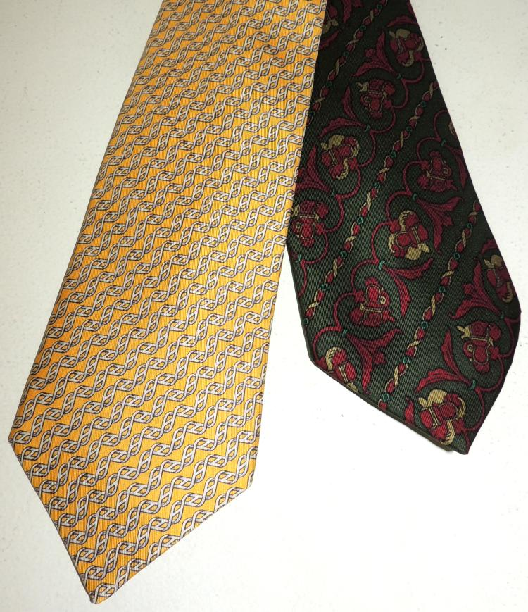 HERMÈS AND CHRISTIAN DIOR two ties in natural silk.