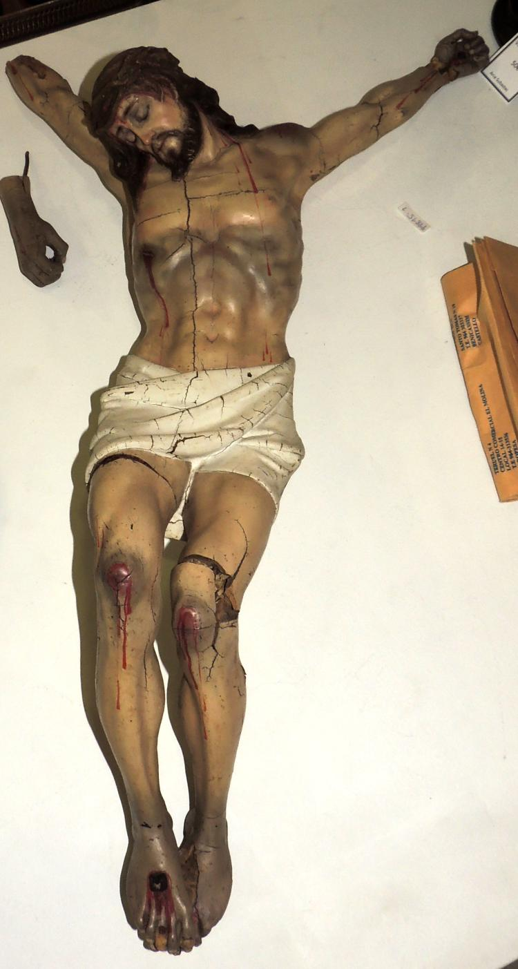IMAGE OF CHRIST CRUCIFIED in wood and plaster.Height: 70 cm