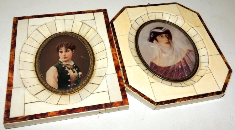 TWO FRAMES OF MINIATURES with colored photographs
