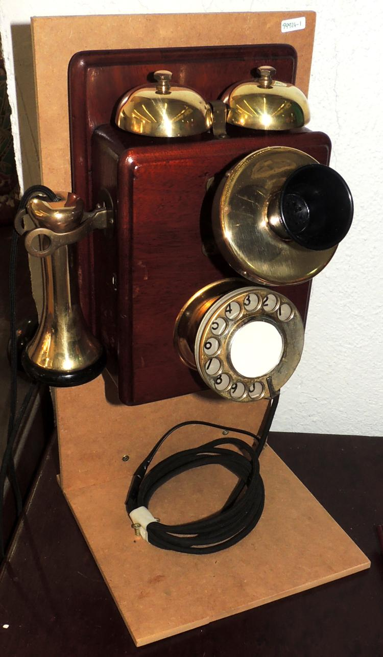 OLD WALL PHONE with wooden box.Restored, it works.