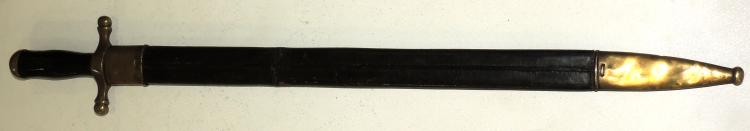 FRENCH SWORD Klingenthat mid S .. XIX administration or hunting with ebony handle.Leaf in perfect condition.Length: 71 cm.