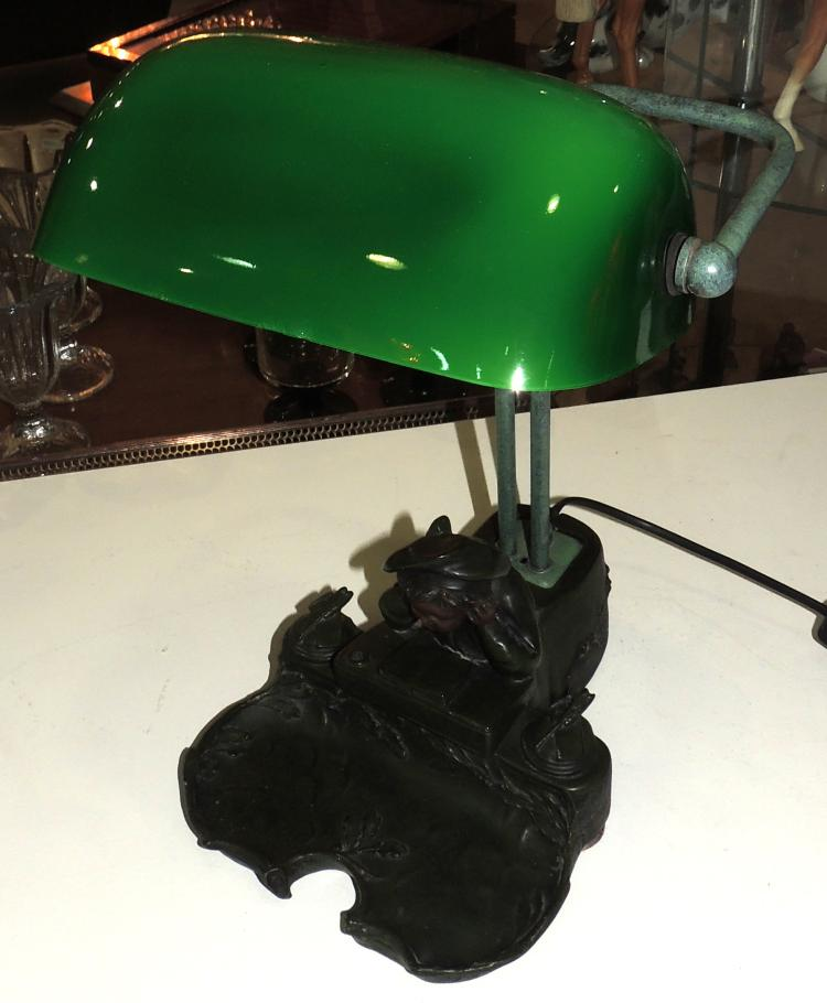 DESKTOP LAMP in patinated terracotta with child reading decoration.Tulip in glass.Working.Measures: 36x26x18 cm.
