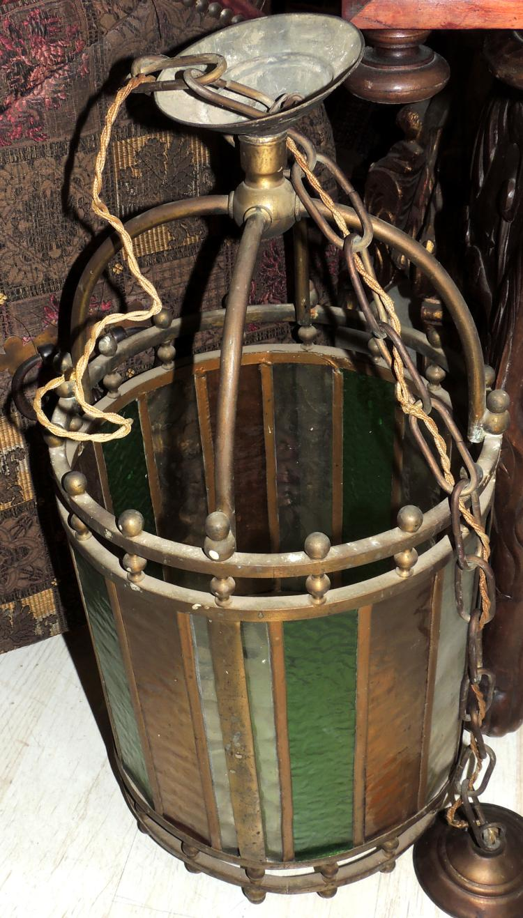 CEILING LANTERN in gold metal and leaded glass in different colors.Height: 56 cm