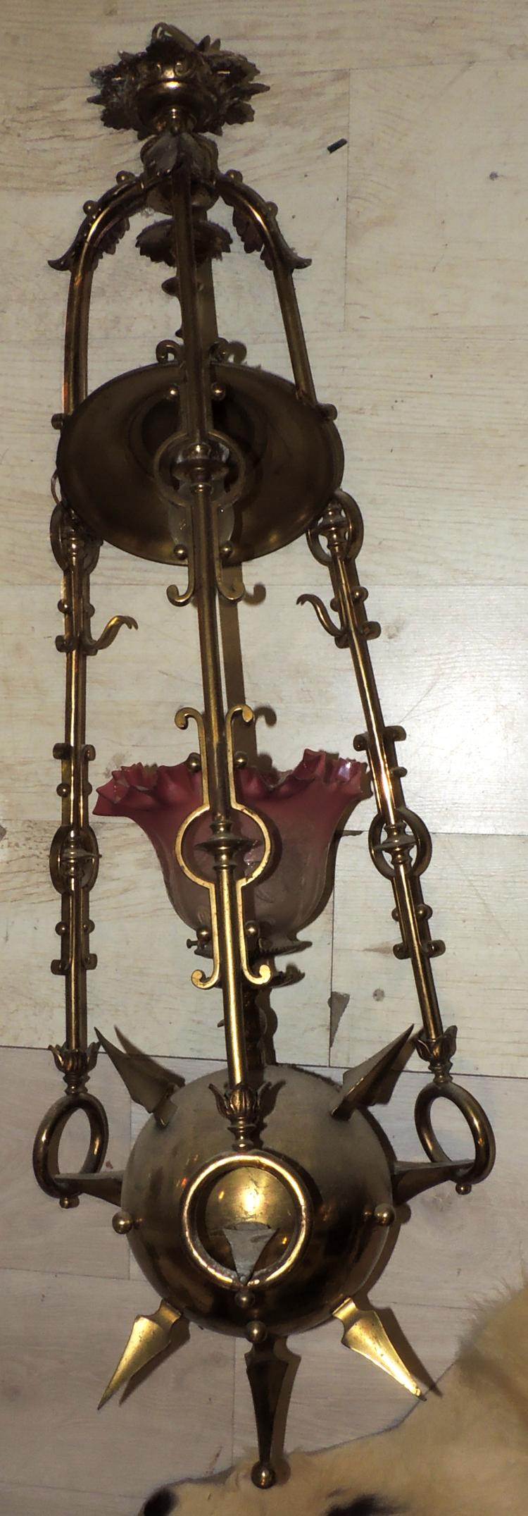 CEILING LAMP 20 YEARS OF DESIGN in gilded metal with pink glazed glass tulip.Height: 100 cm
