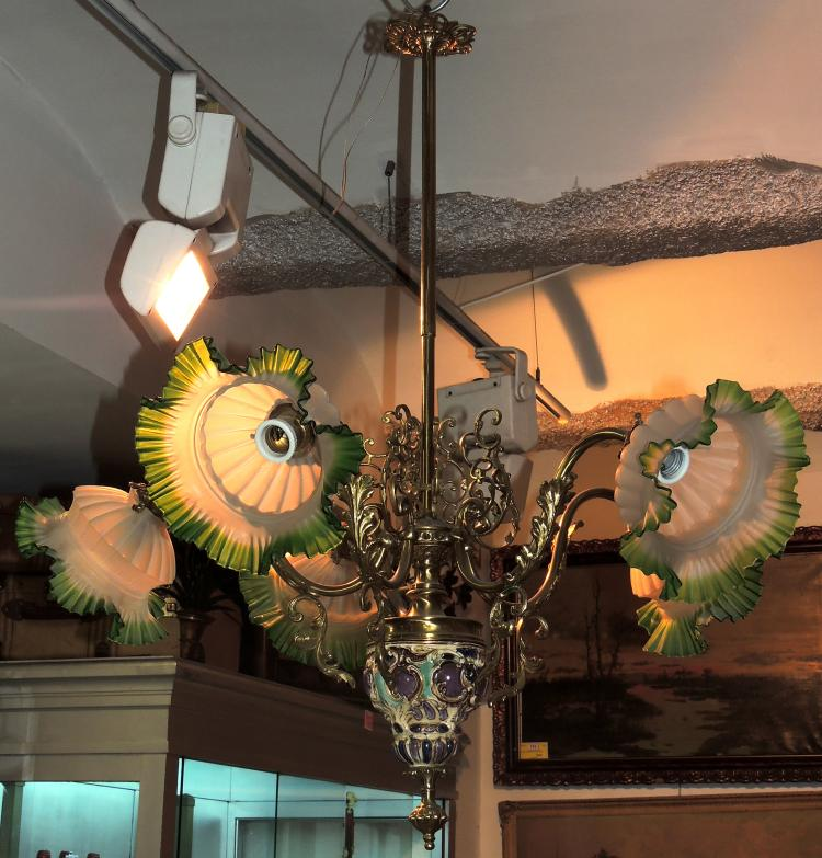 CEILING LAMP with five lights with ceramic and brass body with glass tulips.