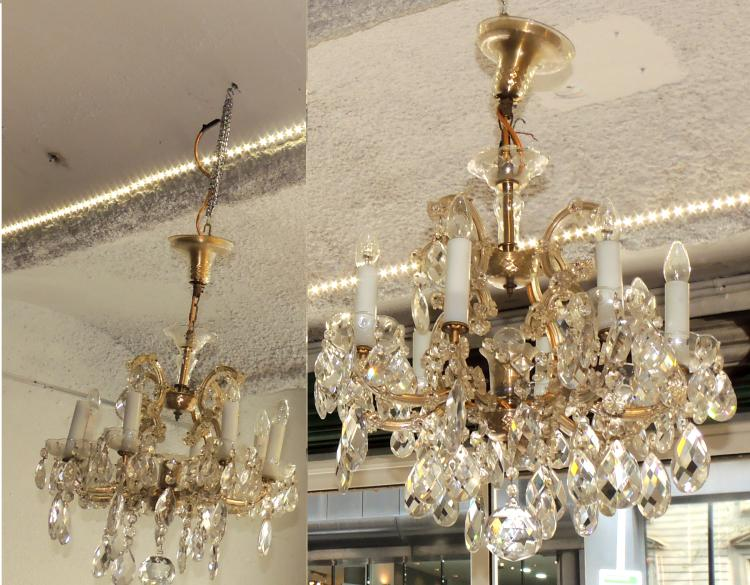 COUPLE OF CEILING LAMPS with 8 lights in bohemia crystal with penelocas.Height: 40 cm