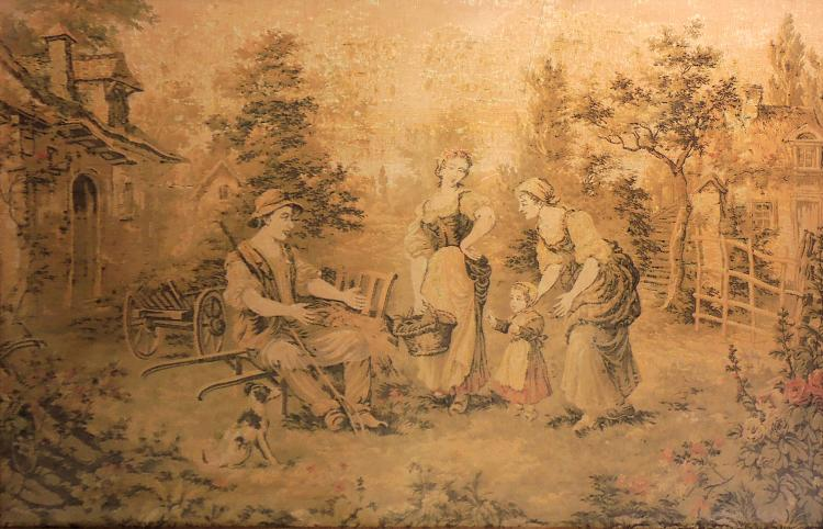 ANONYMOUS S.XX machine embroidered with country scene decoration.Framing.Measures: 90x140 cm.
