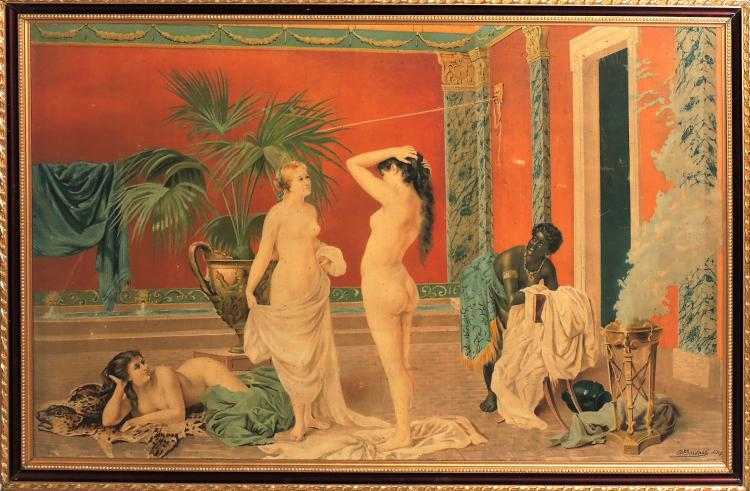 ANONYMOUS S.XIX.TAPÍZ handmade with decoration of Roman bath scene in bright colors.Measures: 90x62 cm.