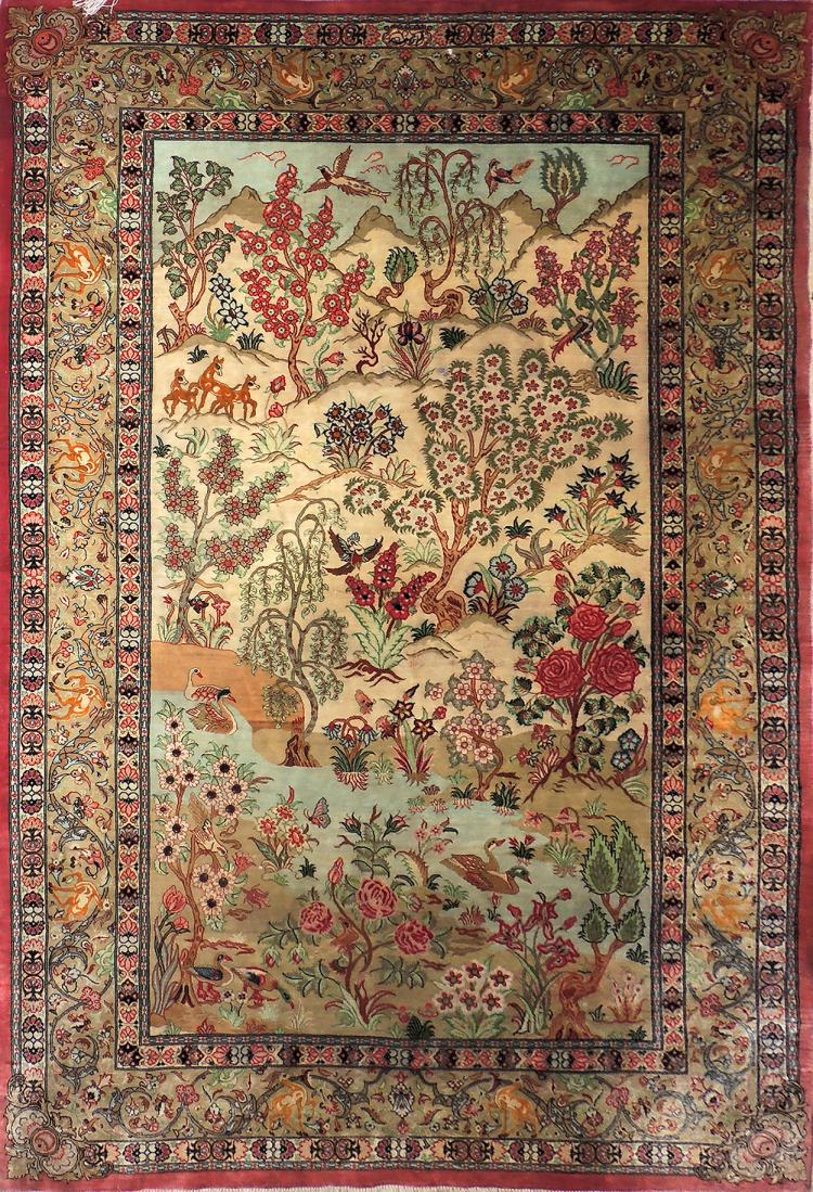 PERSIAN CARPET made of natural silk in soft colors with vegetal and animal decoration. Measures: 153.5x103 cm.