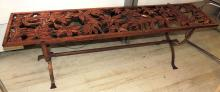 AUXILIARY MESITA in wood as a lattice with decoration of flowers in golden tones.Structure in chrome iron.Signed.Measures: 41x140.5x34 cm.Peq missing in the wood.