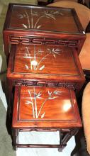 SET OF THREE NEST TABLES oriental wood with decoration of bamboo canes in nacre.Measures: 58x41x31 cm.