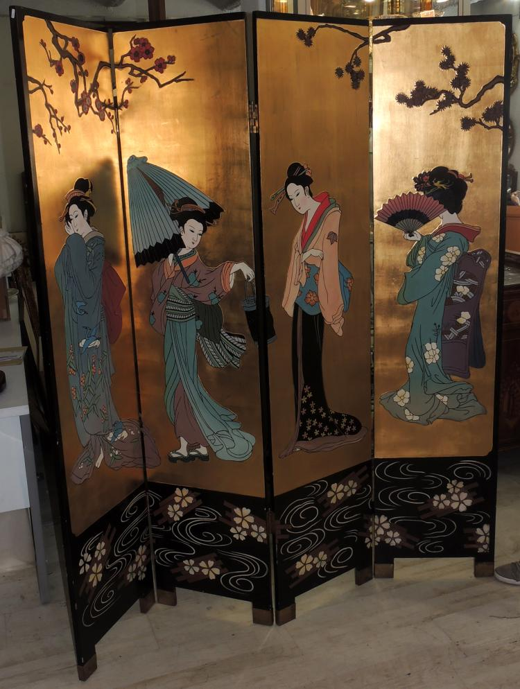 ORIENTAL SCREEN leaves in carved and gilded wood decorated with oriental ladies on the obverse.Reverse carving with flower decoration.Measures sheet: 180x41 cm.