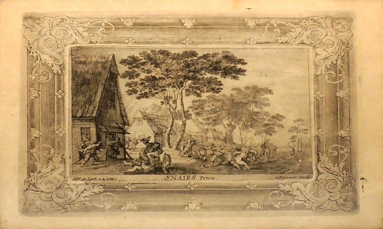 ENGRAVED EUROPEAN CENTER antique with mahogany frame, 29x35 cm.